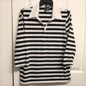 Jason Maxwell Striped Blouse Size XL Black & White
